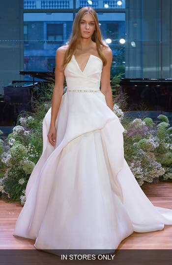 Monique Lhuillier Emerson Strapless Notch Silk Gazar Ballgown