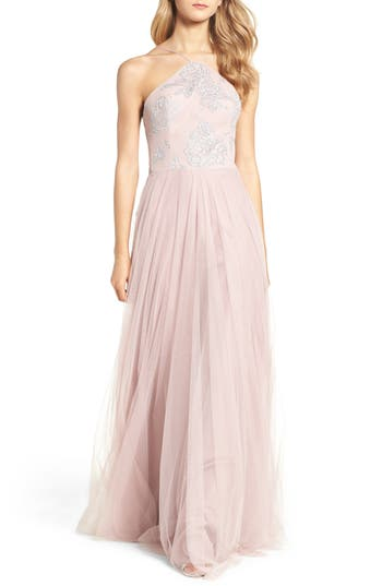 Hayley Paige Occasions Metallic Embellished Gown, Pink