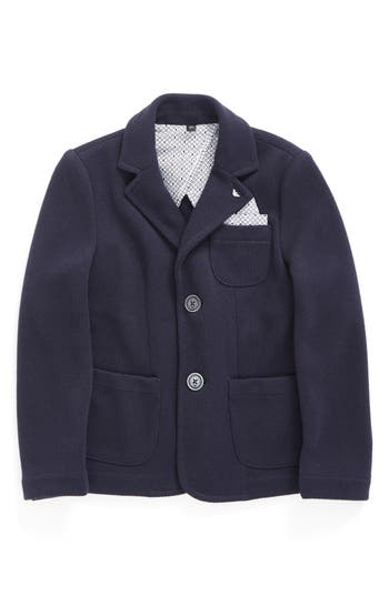 Boy's Armani Junior Knit Blazer With Pocket Square