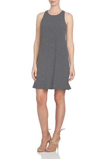 Cece Polka Dot Twist Back Knit Shift Dress, Black