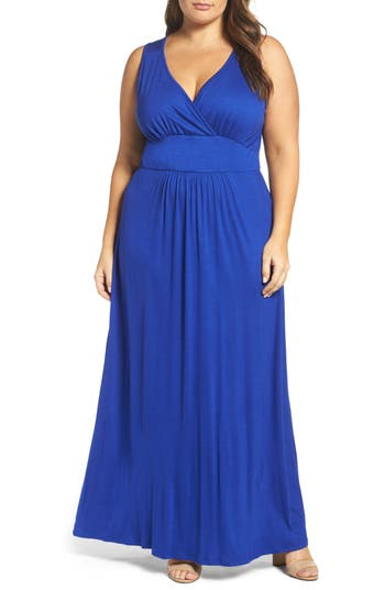 Plus Size Loveappella Surplice Maxi Dress, Blue