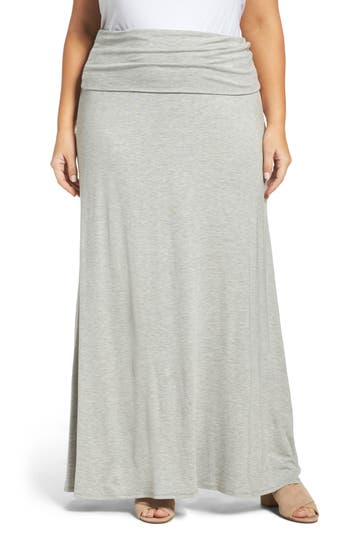 Plus Size Loveappella Fold Over Maxi Skirt, Grey