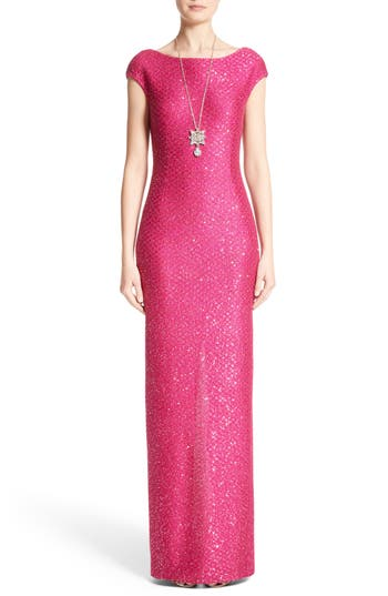 St. John Evening Sequin Knit Column Gown