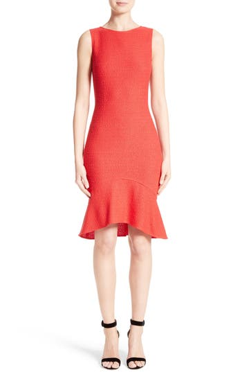 St. John Collection Ribbon Knit Flounce Dress