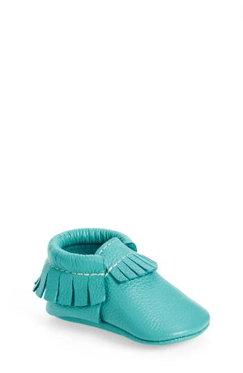 Infant Freshly Picked Leather Moccasin, Size 1 M - Blue/green