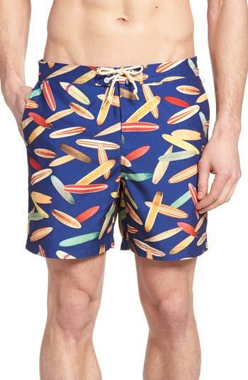 Big & Tall Original Penguin Surfboard Print Volley Board Shorts, Blue