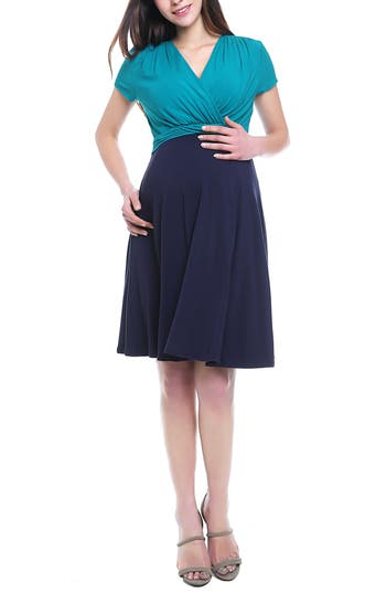 Kimi & Kai Sarah Faux Wrap Maternity/nursing Dress, Blue