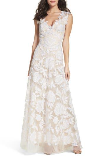 Tadashi Shoji A-Line Lace Gown, Ivory