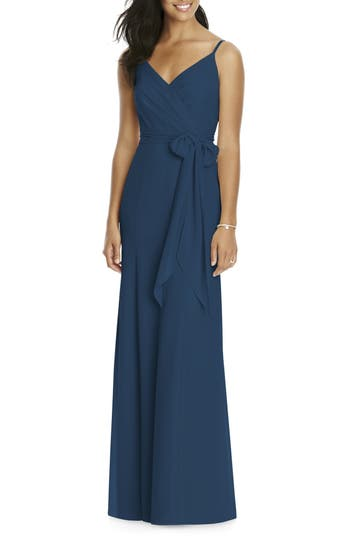 Social Bridesmaids Faux Wrap Gown, Blue