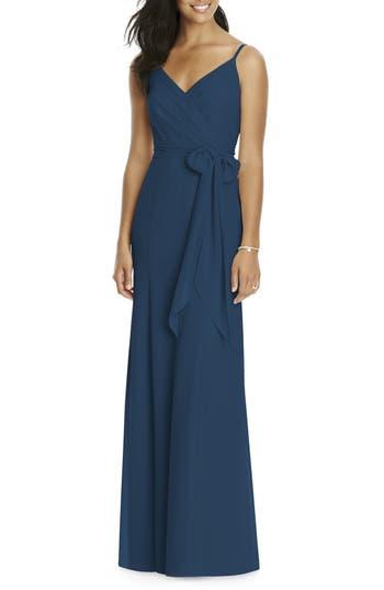 Social Bridesmaids Faux Wrap Gown, Blue