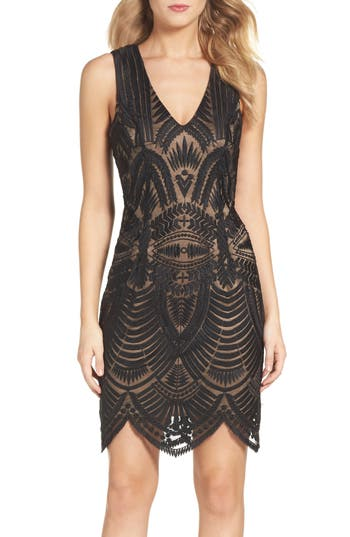 Bardot Embroidered Mesh Dress, Black
