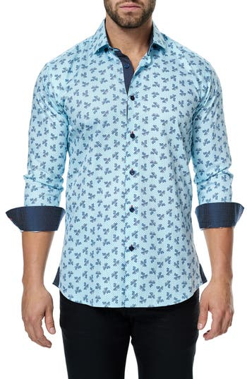 Men's Maceoo Class Paisley Trim Fit Sport Shirt
