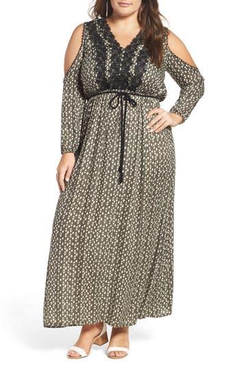 Plus Size Elvi Cold Shoulder Geo Print Maxi Dress