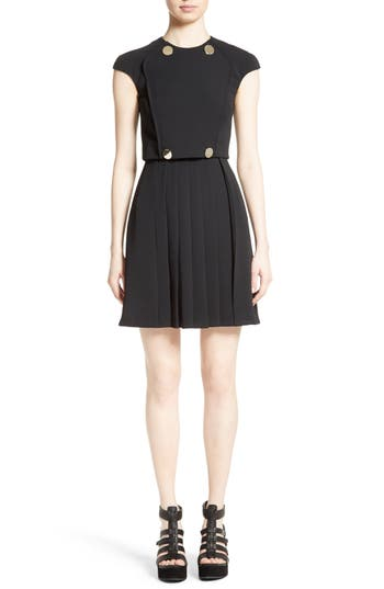 Versace Collection Button Detail Pleated Dress, US / 48 IT - Black