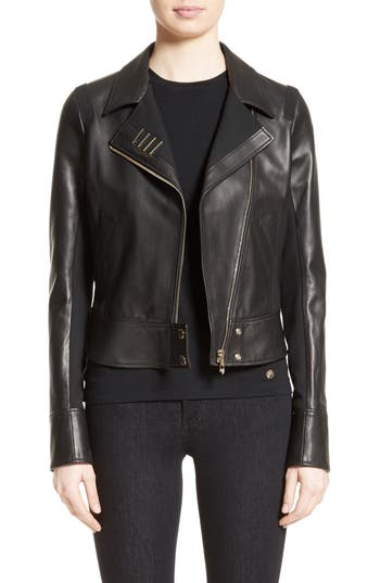 Women's Versace Collection Asymmetrical Zip Leather Jacket