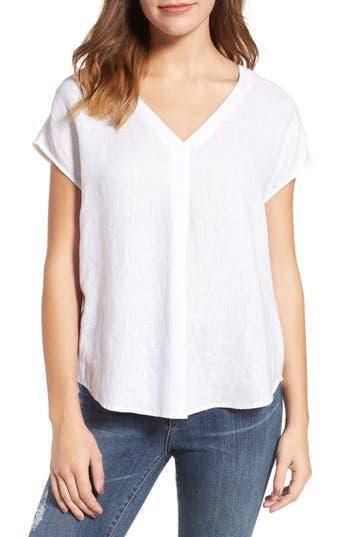 Two By Vince Camuto Linen V-Neck Blouse, White