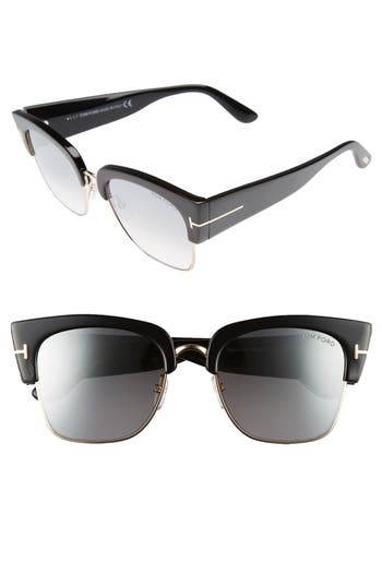 Tom Ford Dakota 55Mm Gradient Square Sunglasses - Shiny Black/ Smoke