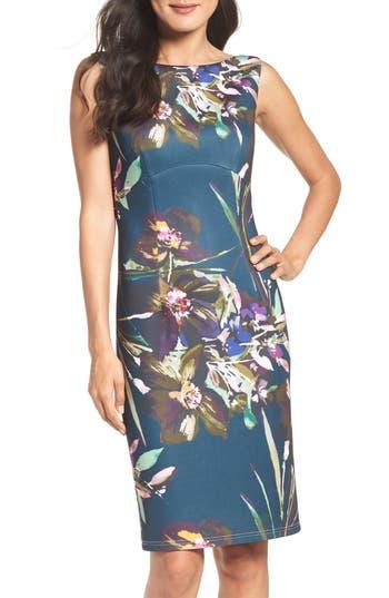 Ellen Tracy Scuba Sheath Dress, Blue