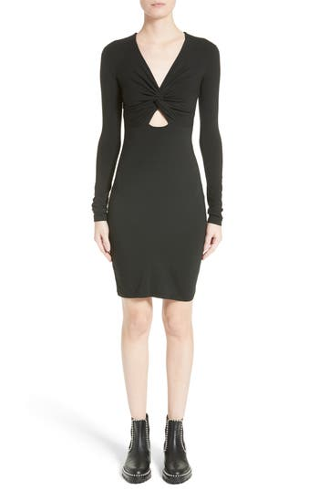T By Alexander Wang Twist Front Body-Con Dress, Black