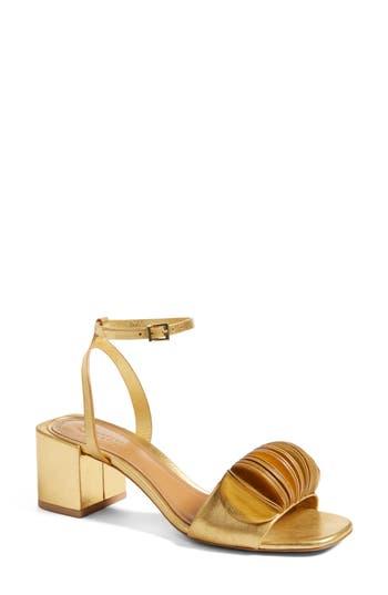 Women's Mercedes Castillo Riza Block Heel Sandal, Size 10 M - Metallic