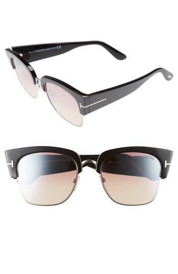 Tom Ford Dakota 55Mm Gradient Square Sunglasses - Shiny Black/ Bordeaux Mirror