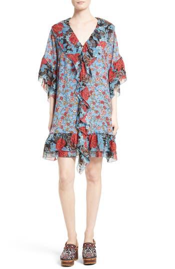 See By Chloe Floral Flounce Tunic Silk Dress, 6 FR - Blue