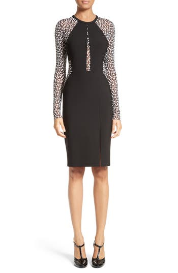Yigal Azrouel Leopard Mesh Inset Dress, Black