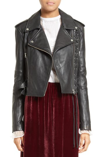 Women's Mcq Alexander Mcqueen Lace-Up Leather Jacket, Size 0 US / 36 IT - Black