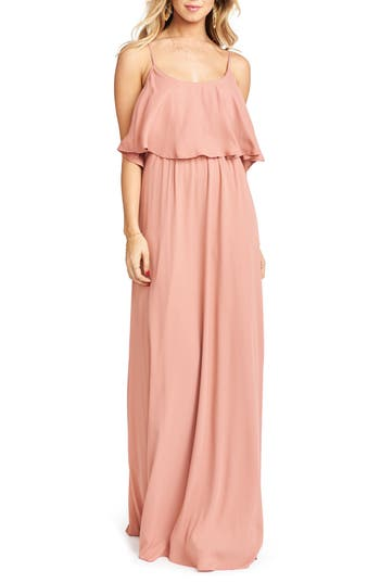 Show Me Your Mumu Caitlin Cold Shoulder Chiffon Gown, Orange