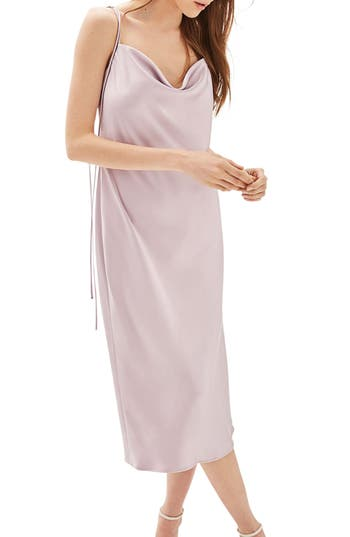 Women's Topshop Bride Cowl Neck Midi Dress, Size 2 US (fits like 0) - Purple