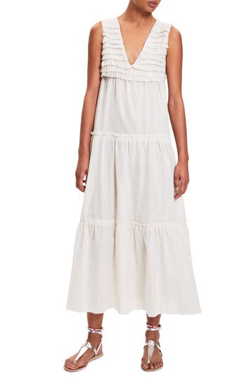 Women's Lemlem Damen Tiered Cover-Up Maxi Dress, Size Small - White