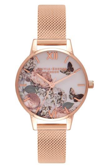 Women's Olivia Burton Garden Mesh Strap Watch, 38Mm