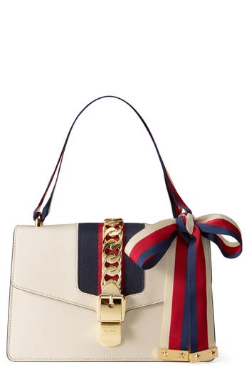 Gucci Small Sylvie Leather Shoulder Bag - White