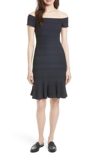 Rebecca Taylor Off The Shoulder Textured Knit Dress, Blue