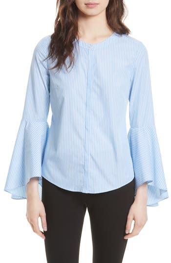 Women's Milly Michelle Stripe Bell Sleeve Blouse, Size 0 - Blue