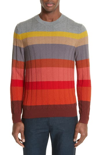 Paul Smith Multistripe Merino Cable Knit Sweater, Red