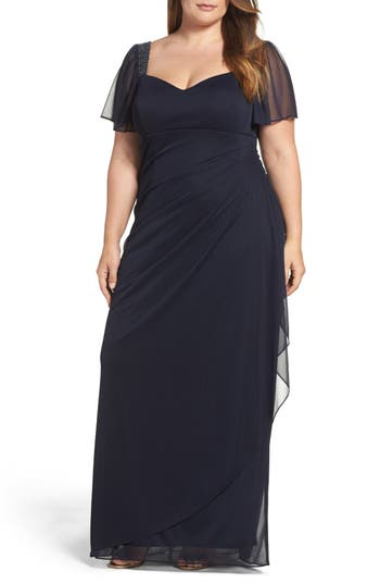 Plus Size Xscape Embellished Side Pleat Gown