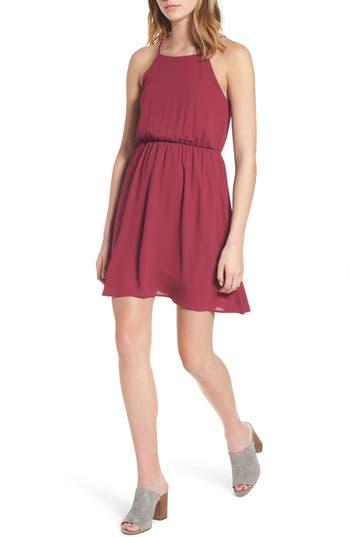 Lush Back Tie Blouson Dress, Burgundy