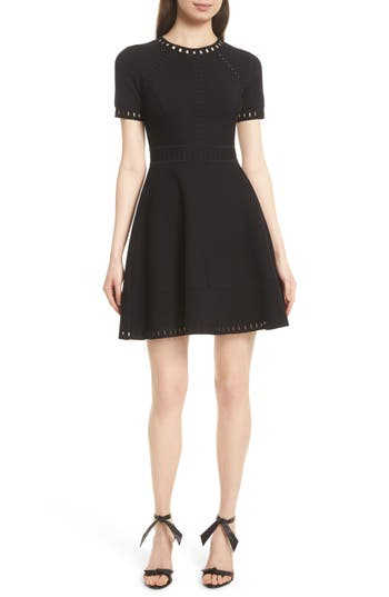 Milly Texture Knit Fit & Flare Dress, Size Petite - Black