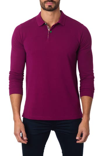 Men's Jared Lang Long Sleeve Polo, Size Large - Burgundy