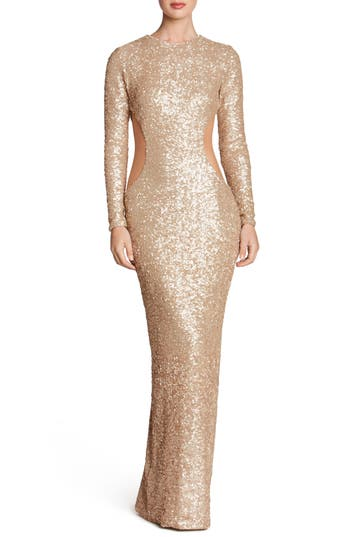Dress The Population Lara Body-Con Gown, Metallic
