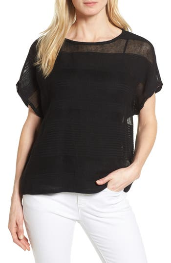 Women's Eileen Fisher Organic Linen Blend Sheer Stripe Sweater