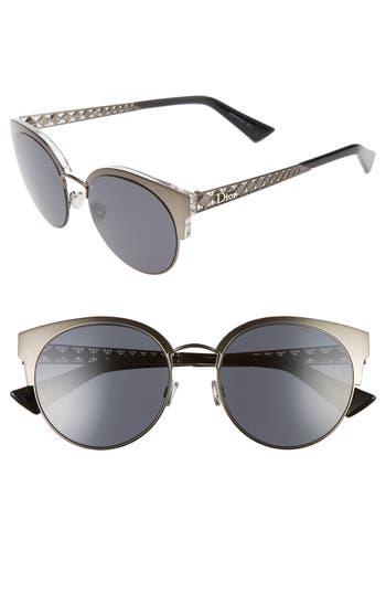 Women's Dior Diorama Mini 54Mm Mirrored Lens Cat Eye Sunglasses - Black