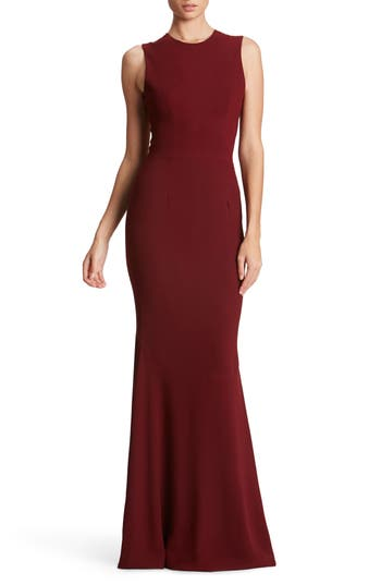 Dress The Population Eve Crepe Mermaid Gown, Burgundy
