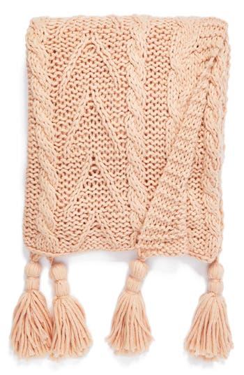 Nordstrom At Home Cable Knit Tassel Throw Blanket, Size One Size - Pink