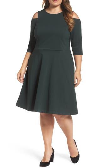 Plus Size Eliza J Cold Shoulder Ponte Fit & Flare Dress