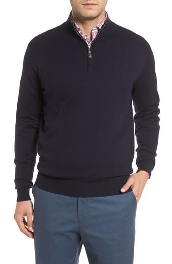 Peter Millar Mock Neck Quarter Zip Wool & Cotton Sweater, Blue