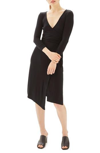 Women's Topshop Back Cutout Wrap Midi Dress, Size 2 US (fits like 0) - Black