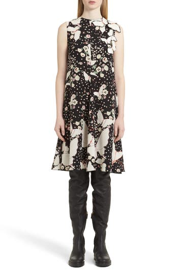 Valentino Pop Butterfly Applique Silk Crepe De Chine Dress, Black