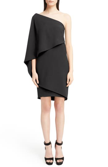 Givenchy Stretch Cady Cape Dress, 6 FR - Black